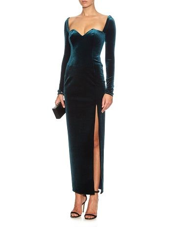 EMILIO DE LA MORENA Sweetheart Neckline Velvet Dress