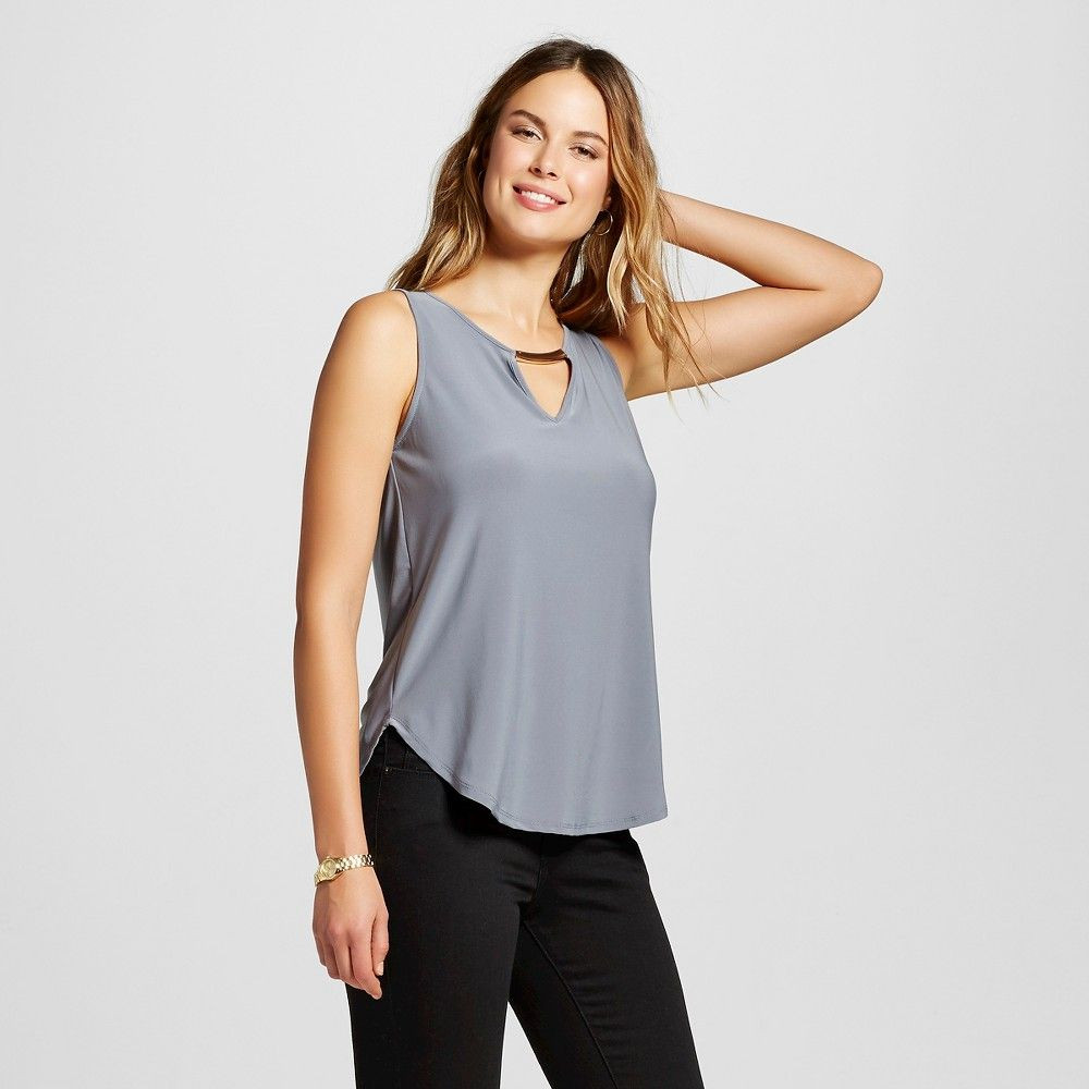 Women's V-Neck Tank with Metal Necklace Bar Steel (Silver)