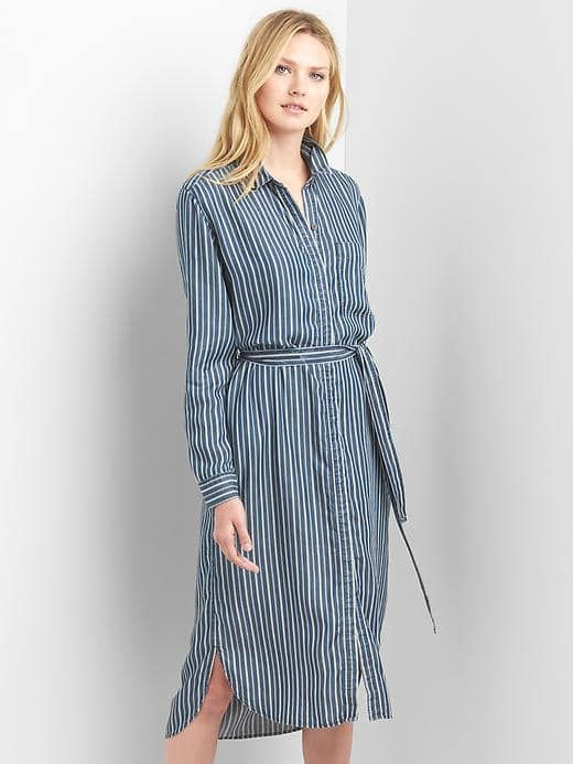 12ecddd3512c88 Gap Womens Stripe Tencel™ Midi Shirtdress Dark Indigo Size XXL ...