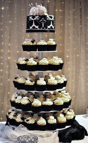 Black and white wedding cupcake tower idea