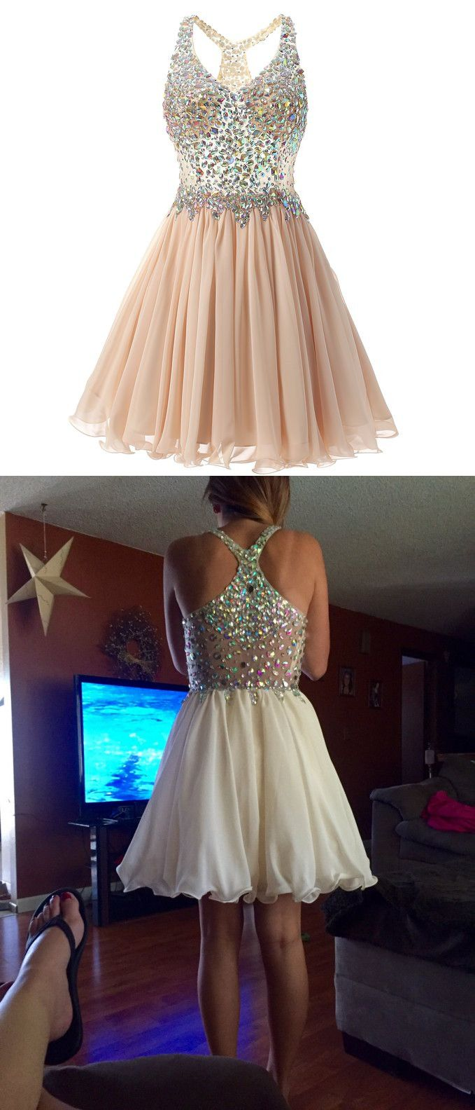 Stunning vneck kneelength champagne homecoming dress with beading