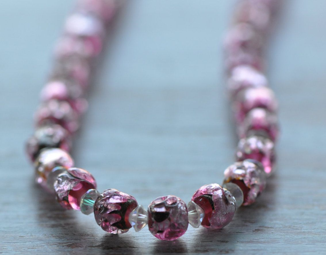 Pink Art Deco Lava Glass Silver Foil Venetian Beaded Necklace, vintage pink necklace,Christmas gift,Jewellery for Women by AnyaSophiaCo on Etsy