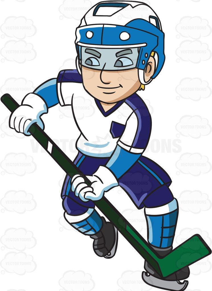 A Hockey Player Charges To Defend Their Goal Hockey Hockey Players Cartoon