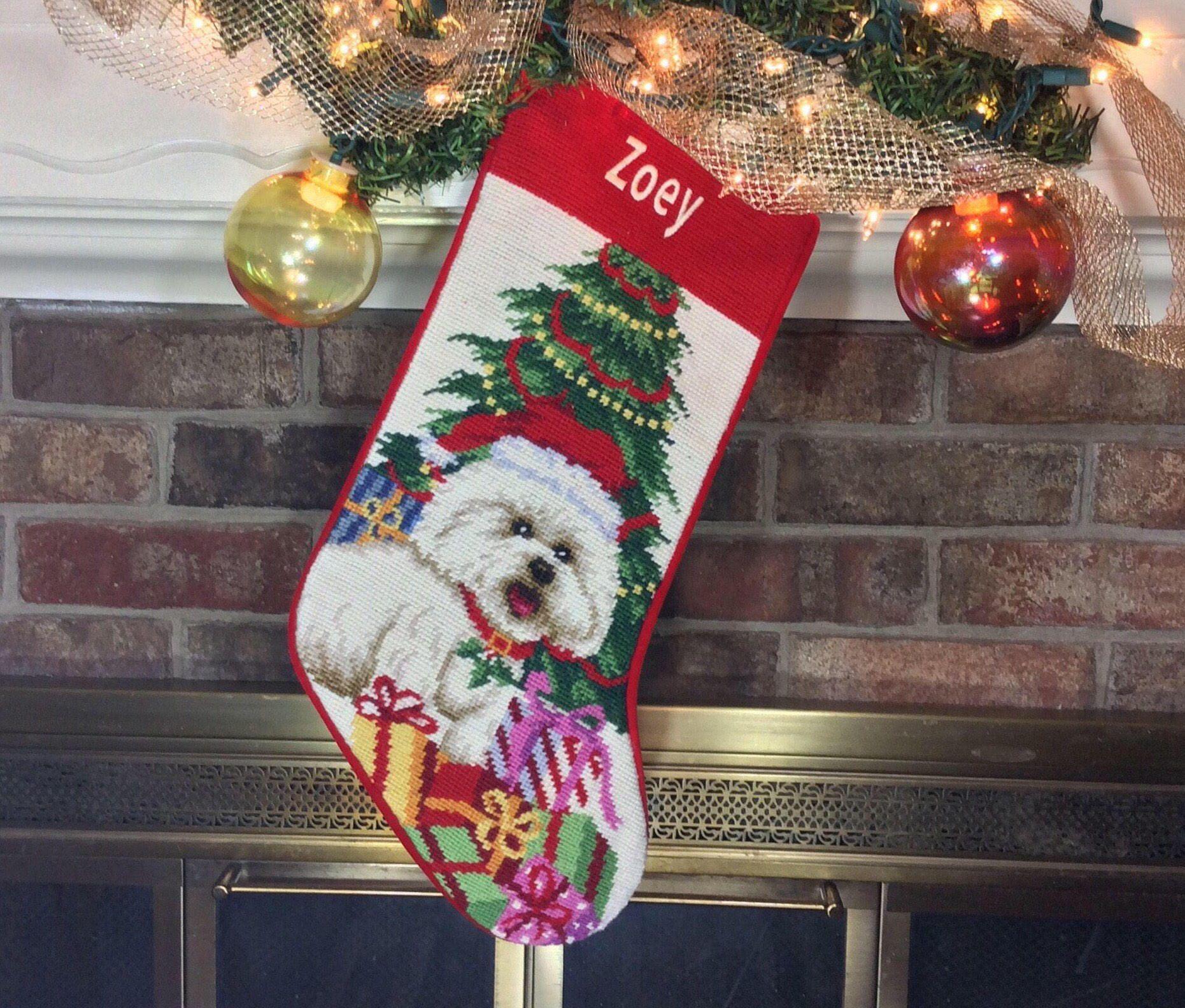 bichon dog christmas stocking dog stocking personalized dog stocking christmas stocking bichon