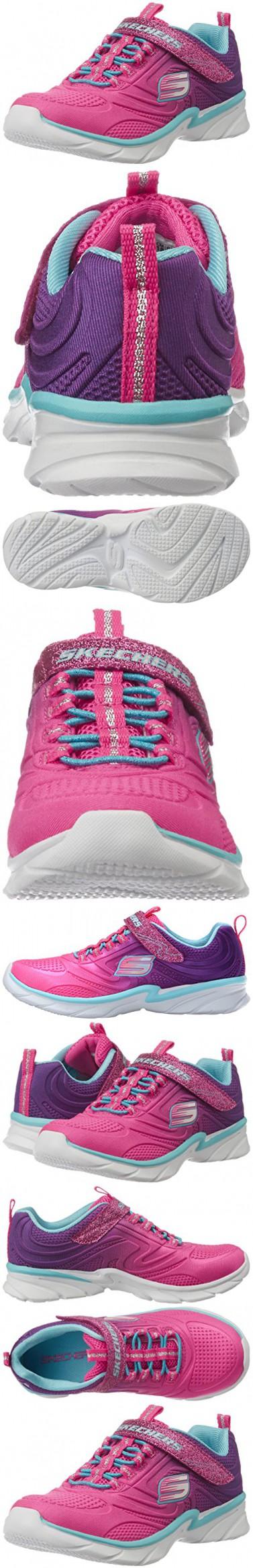 Skechers Kids Swirly Girl-81702L Gore and Strap Sneaker (Little Kid/Big Kid), Neon Pink/Purple, 13 M US Little Kid