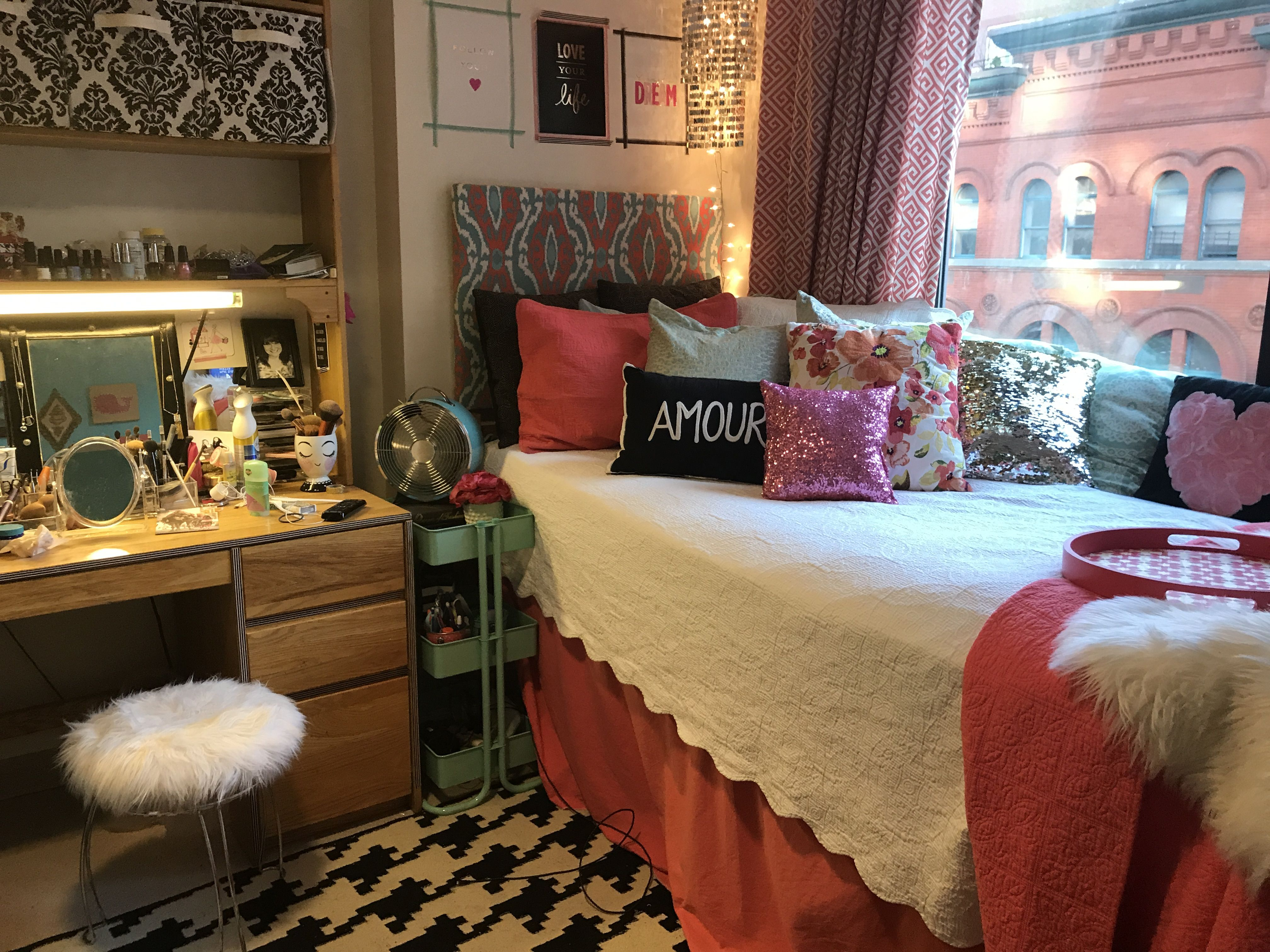 NYU Dorm Single. DIY faux fur stool | My NYU dorm room ...