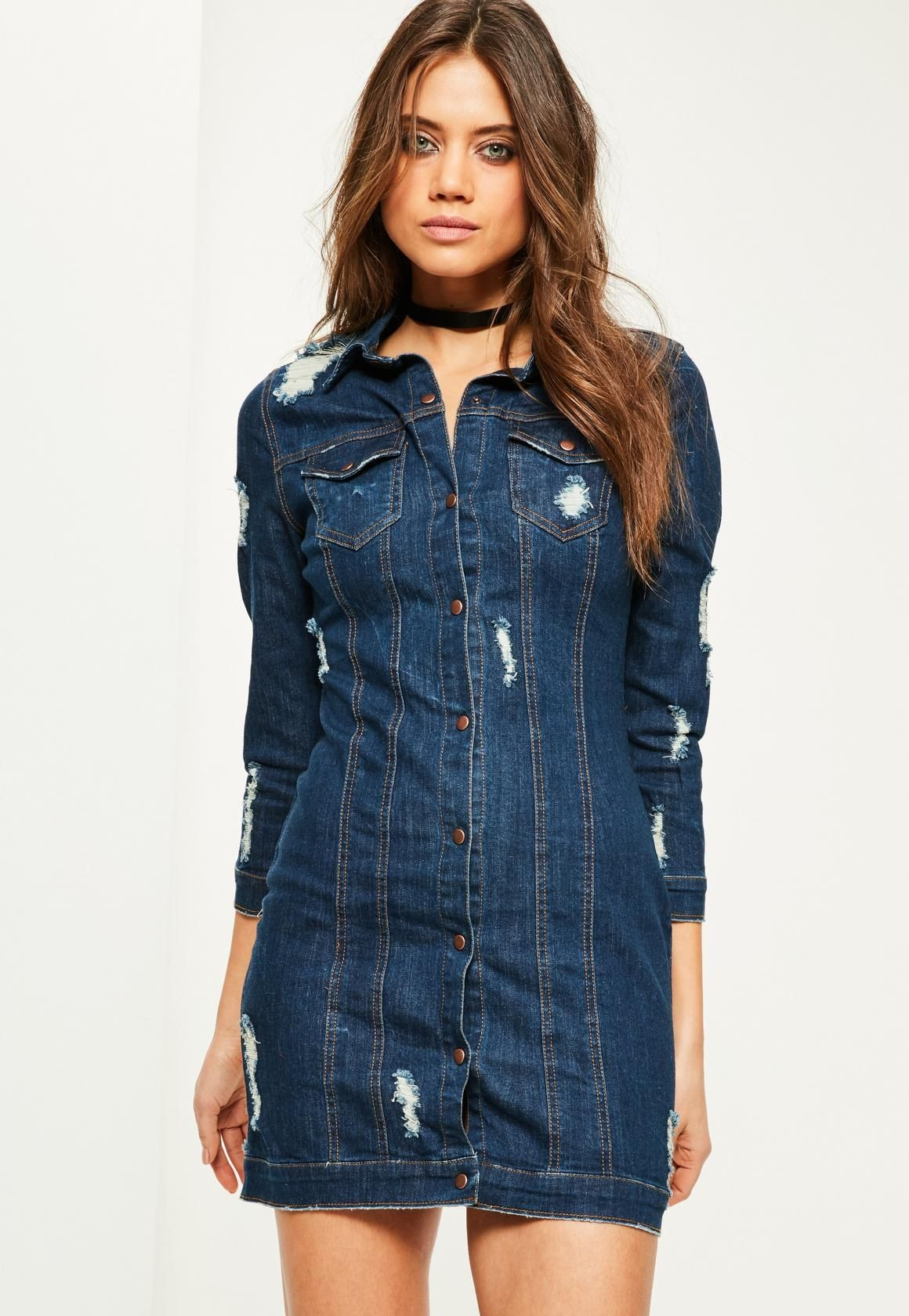 1d0edcd6c6 Missguided - Blue Fitted Ripped Denim Shirt Dress