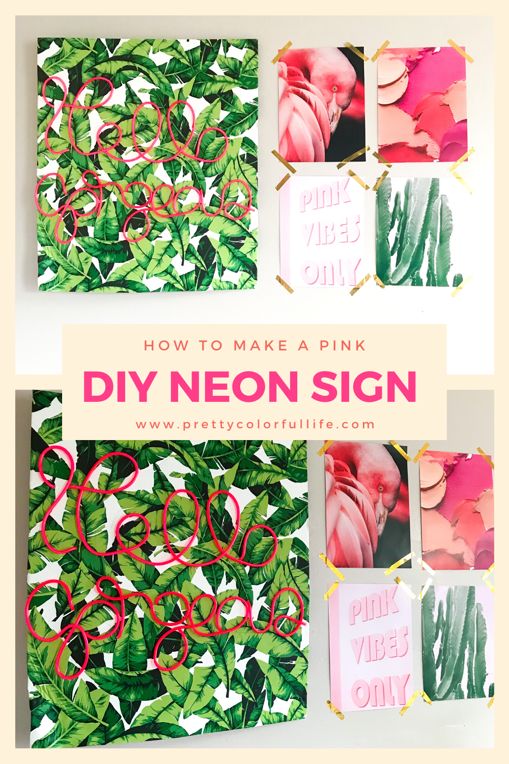 How To Make A Pink DIY Neon Sign in 2020 Diy neon sign