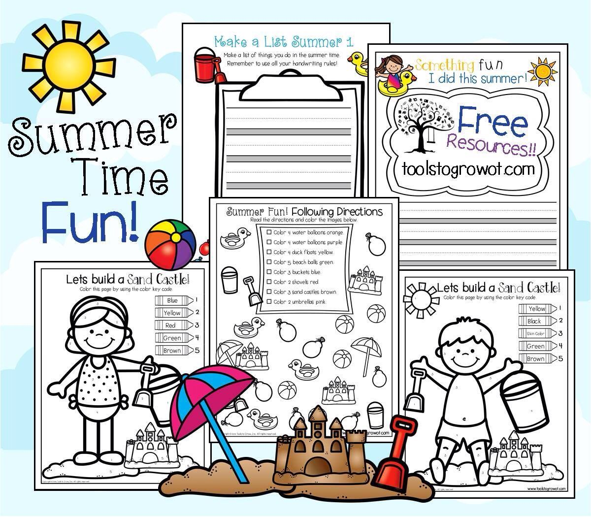 Free Summer Worksheets Coloring Fun Olstogrowot