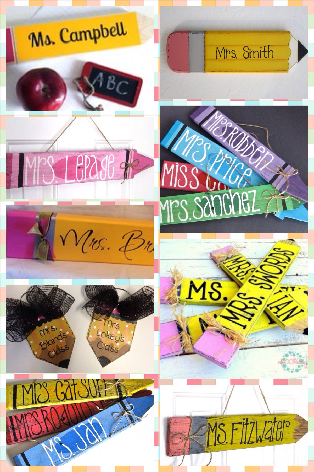 Cute Pencil Crayon Shaped Wooden Signs Great For Teachers Gifts