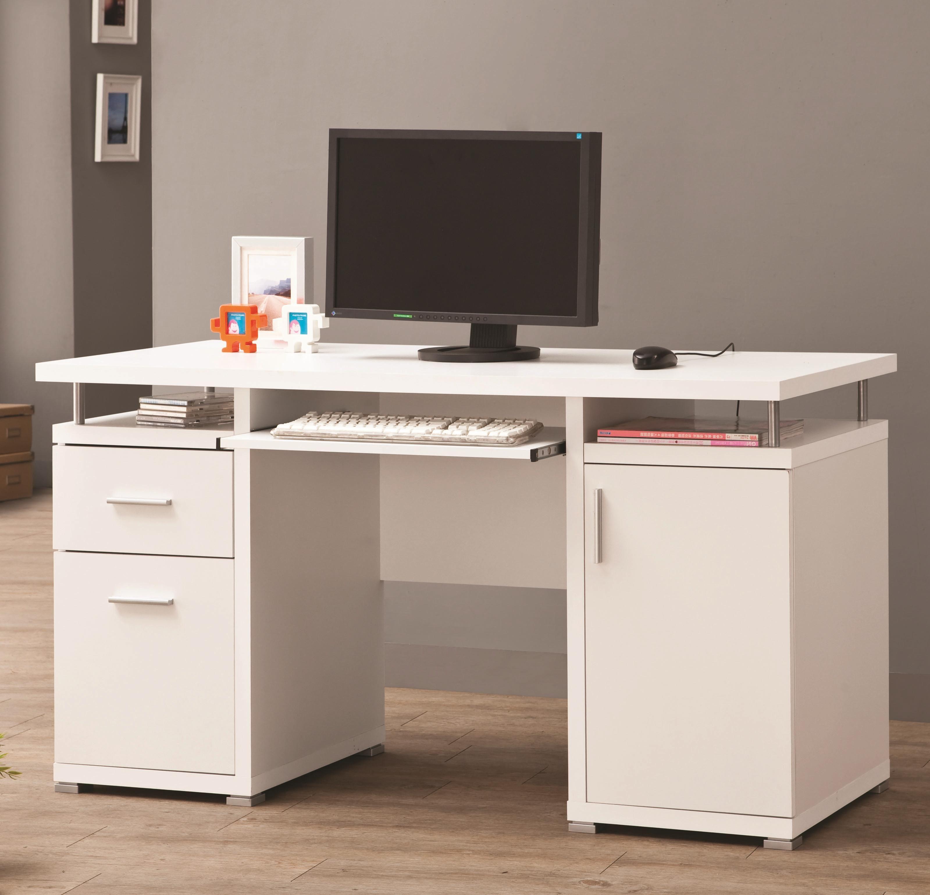 Coaster Desks White Computer Desk With 2 Drawers U0026 Cabinet   Coaster Fine  Furniture