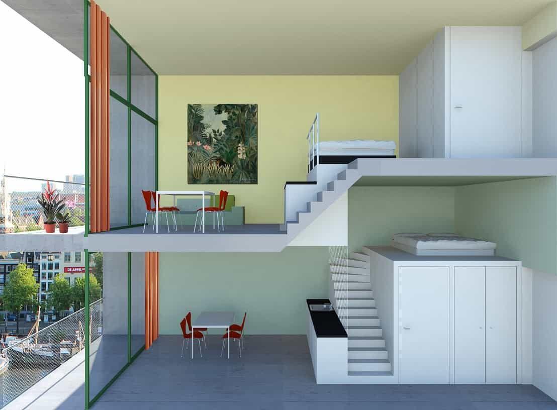 Duplex Compleet XS Deluxe Amsterdam #XSDeluxe #micro #appartementen #amsterdam #compact #luxe #wonen