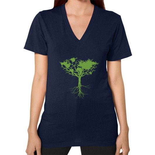 Earth tree V-Neck (on woman)