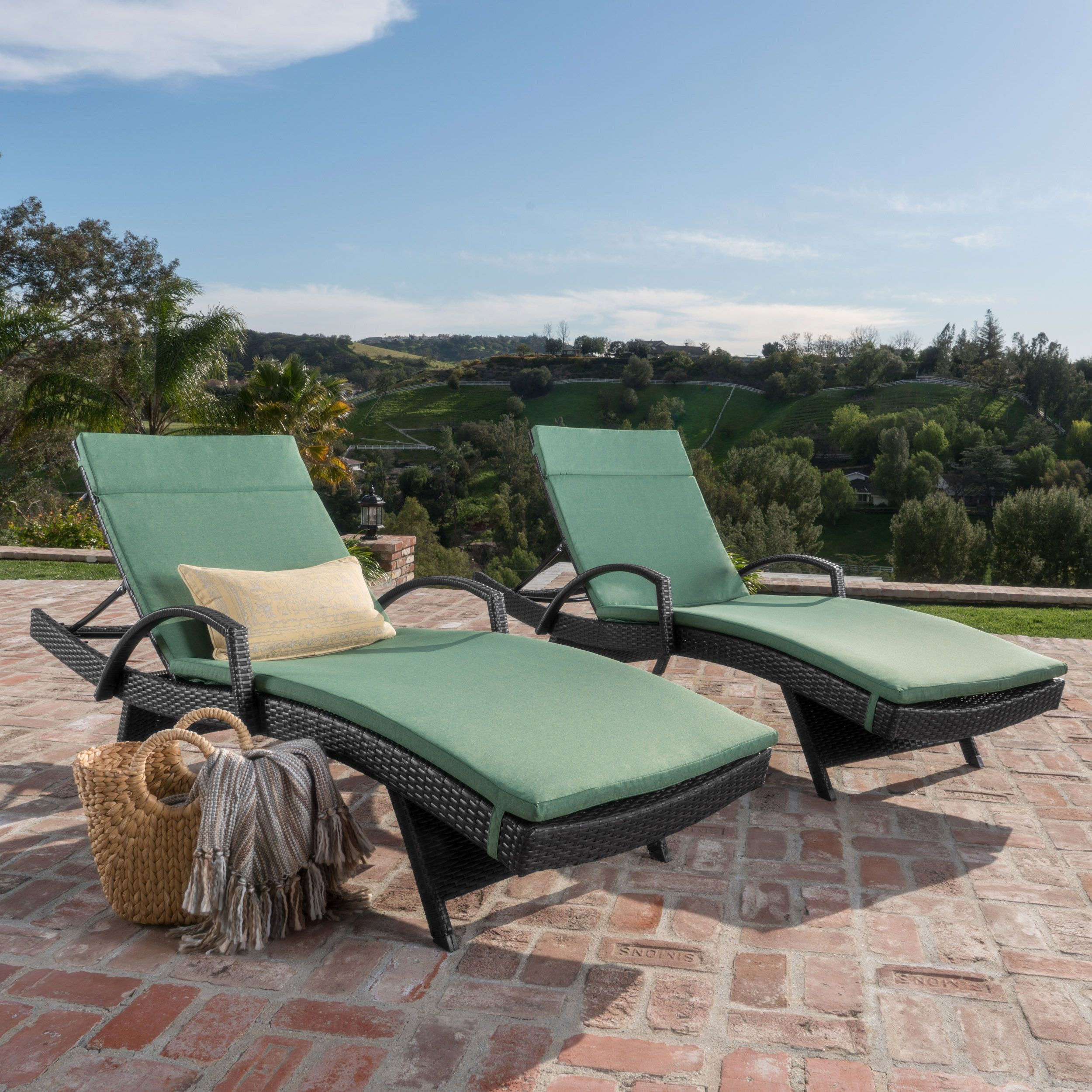 Soleil Outdoor Wicker Chaise Lounges W Water Resistant Cushions Set Of 2