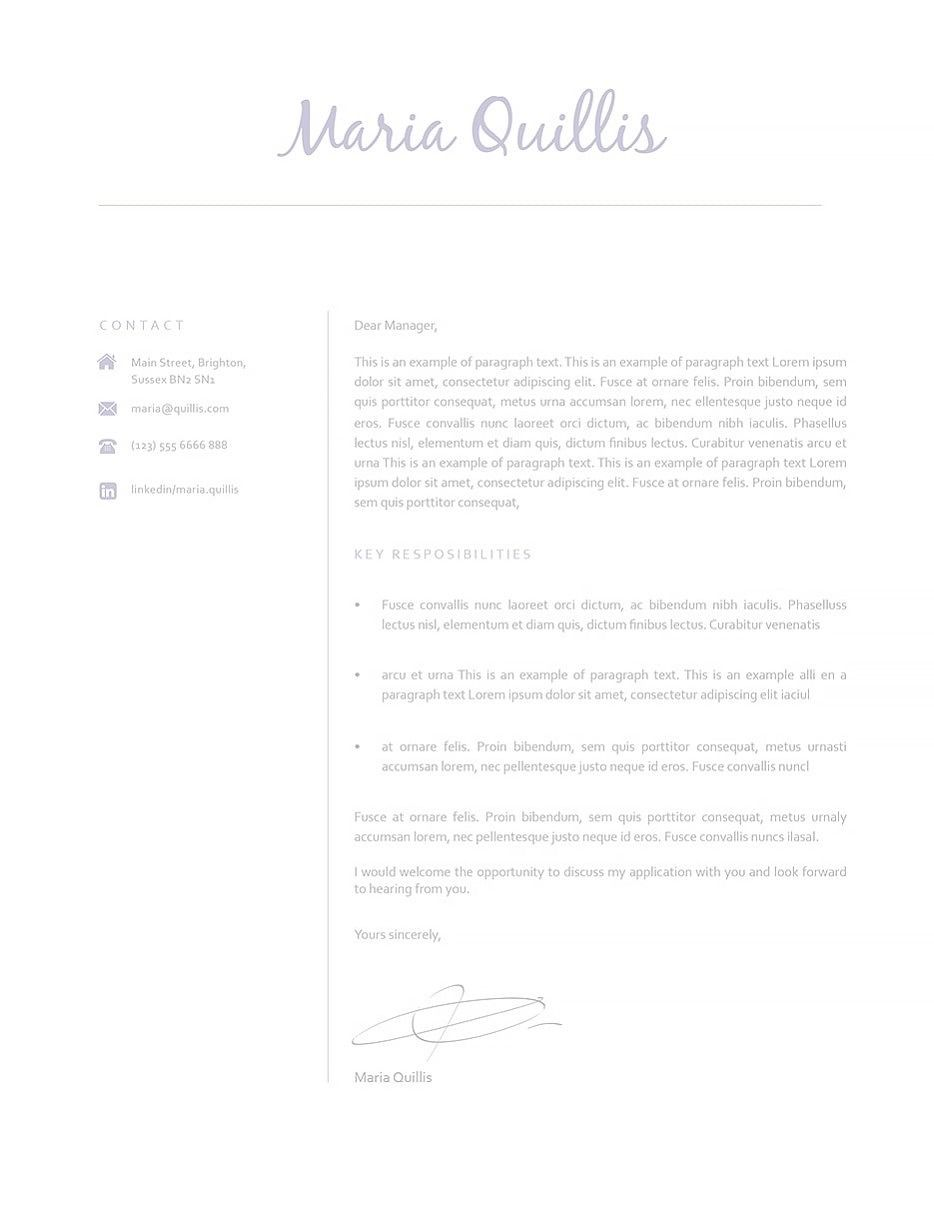 Classic Cover Letter Template    Resume  Curriculum