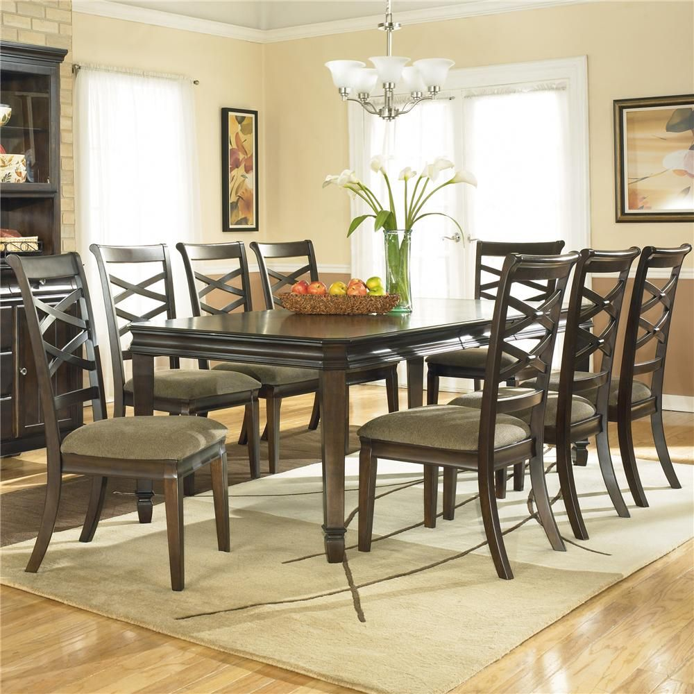 Hayley Contemporary Rectangular Table With 8 Chairs By Ashley
