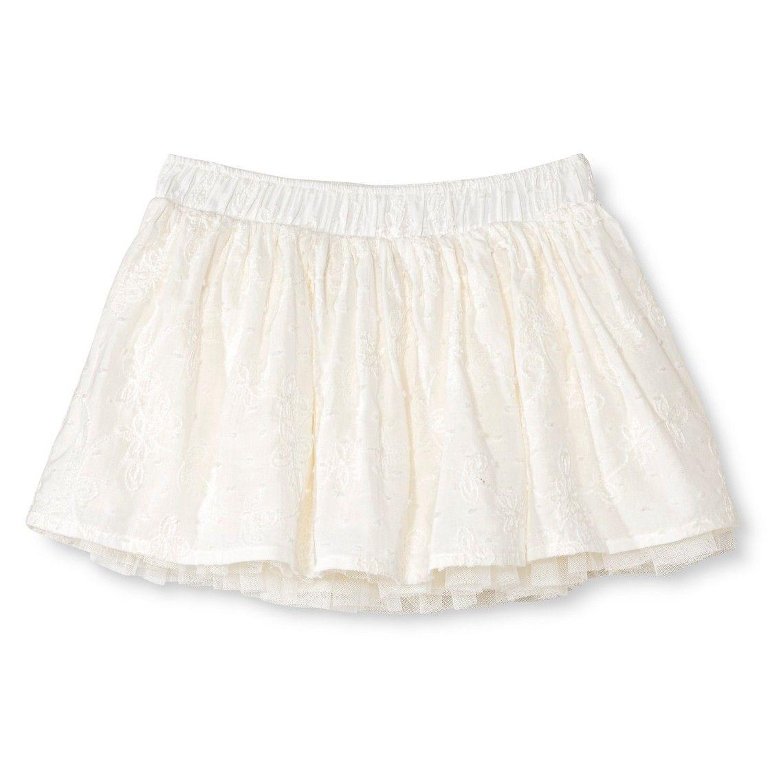 Toddler Girls' Eyelet Mini Skirt - Almond Cream