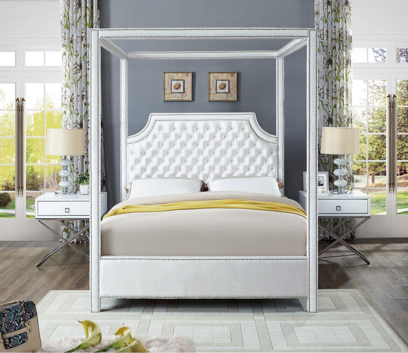 Meridian Rowan White Velvet Queen Bed & Reviews