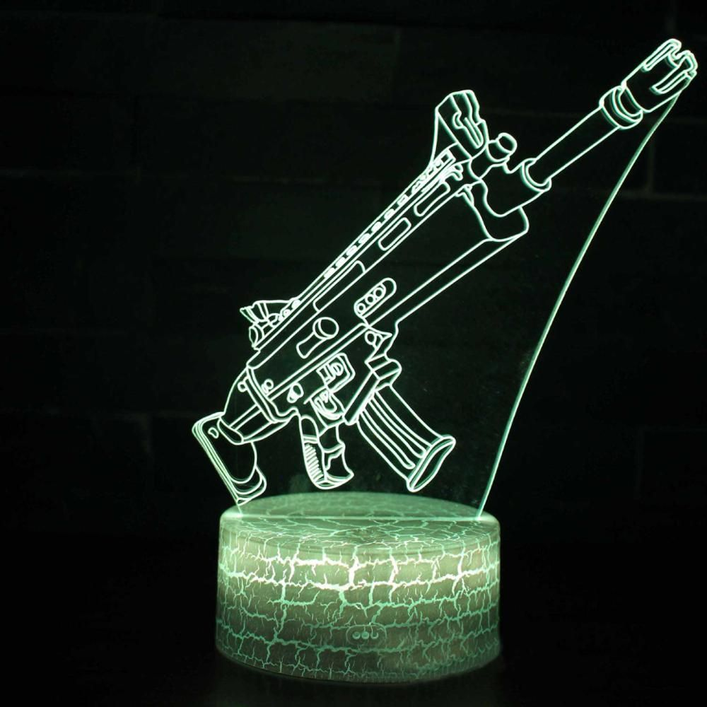Lampka Karabin 3d Fortnite Hologram Weihnachtsgeschenke Kinder Touch Lampe Nachtlicht