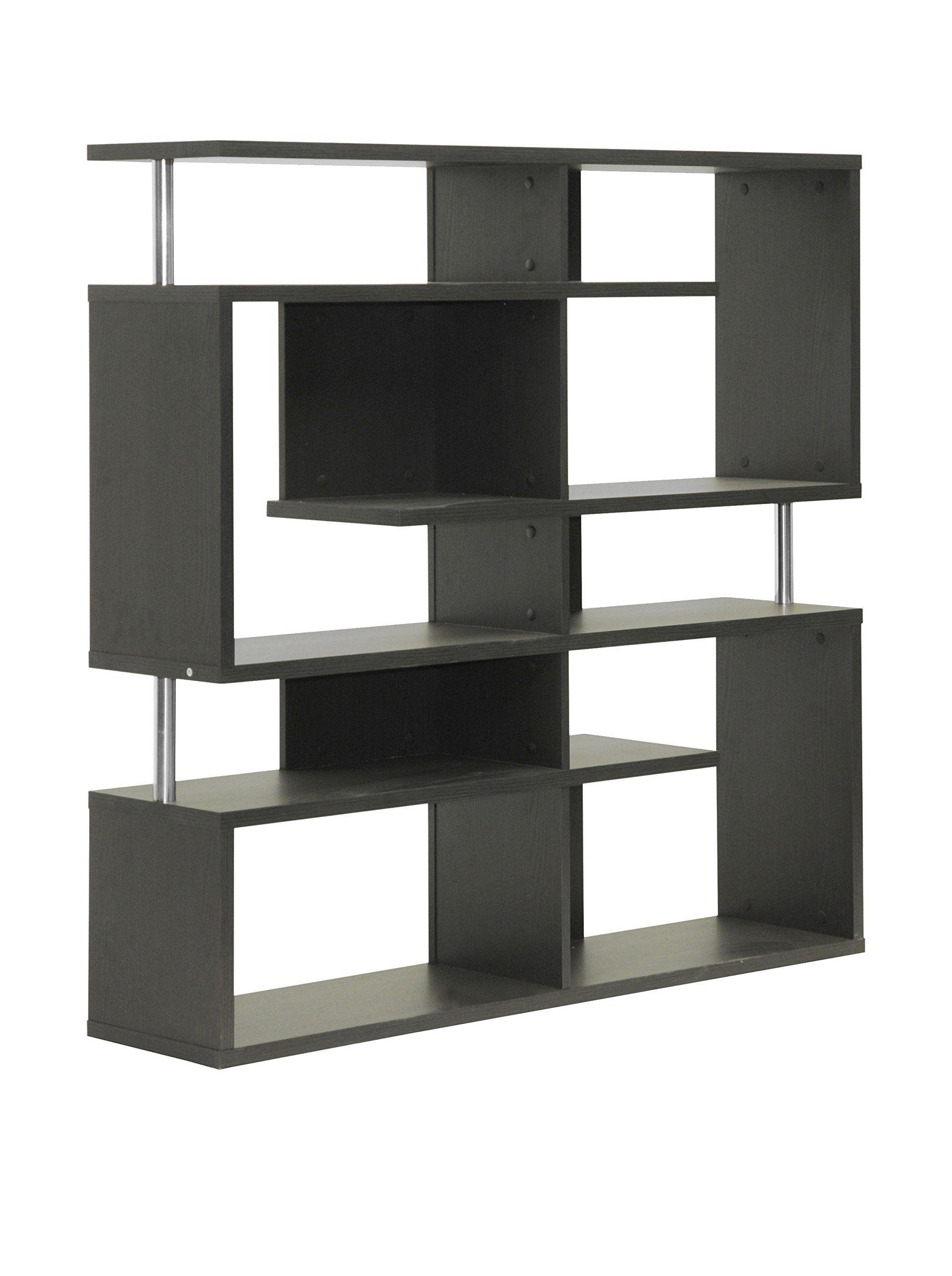 Baxton Studio Kessler Modern Bookshelf Medium Height Dark Brown