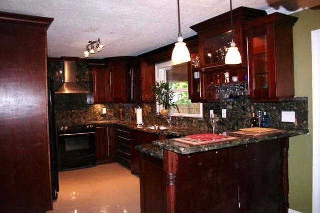 Dark Cherry Wood Kitchen Cabinets Beige Tile Ceramic Flooring