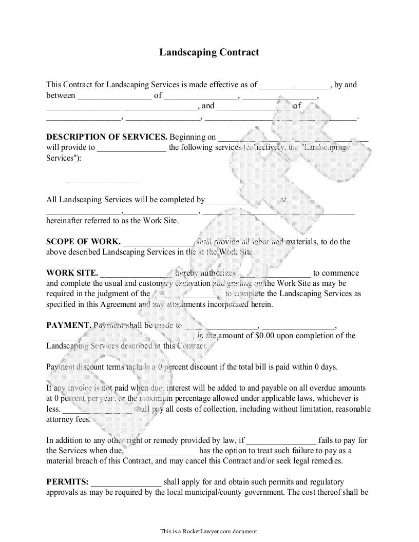 Sample Landscaping Contract Form Template Yard Garden Contract