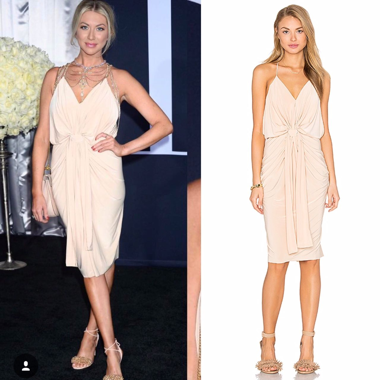 256be763244d Stassi Schroeder s Light Pink Knotted Draped Dress and Layered Statement  Necklace Stassi Schroeder s Blue Knotted Dress