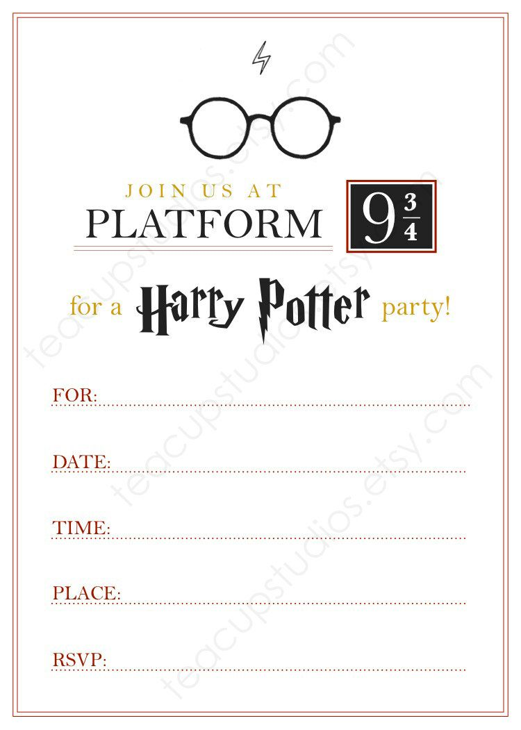 PRINTABLE Harry Potter Invitation - PDF. $4.4, via Etsy.  Harry
