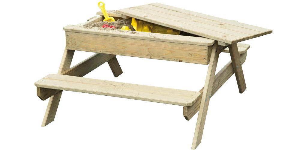 Table de pique nique bois Rosy Park avec bac à sable intégré - Zoom - Maisonnette En Bois Avec Bac A Sable