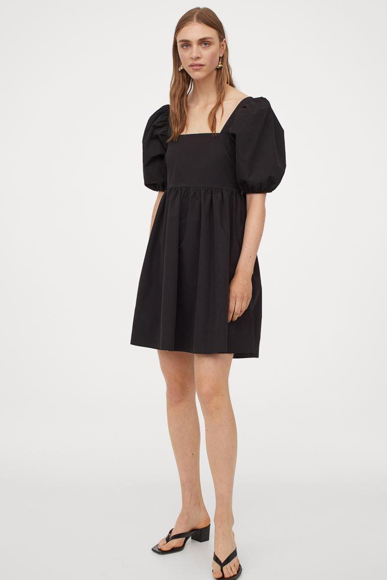 kleid mit puffärmeln - schwarz - ladies | h&m de | kleid mit