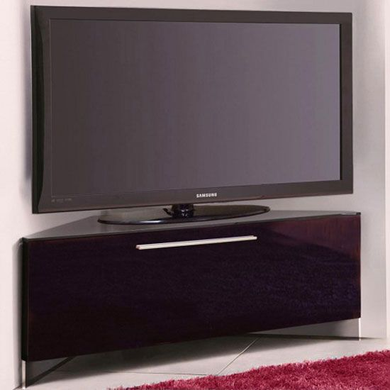 new concept c342c ee121 Ontario Glass Top Corner TV Stand In High Gloss Piano Black ...