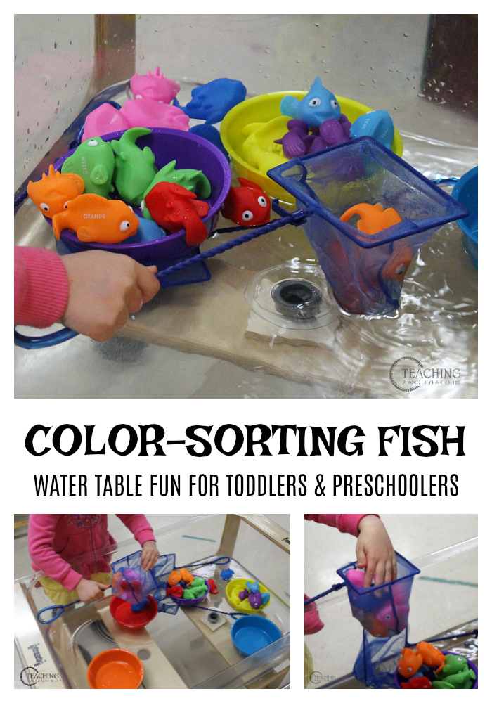 Toddlers and preschoolers will build color recognition skills and strengthen fine motor muscles while scooping fish out of water. Great for an ocean theme!