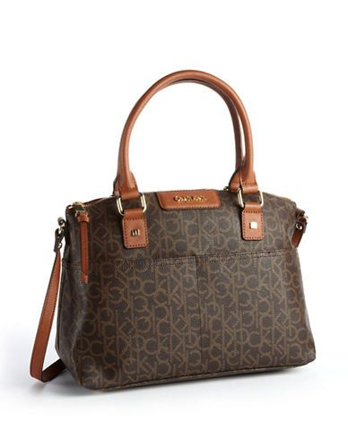 fed63d2783 Calvin Klein Hudson Monogrammed Satchel Women's Brown/Khaki/Luggage ...