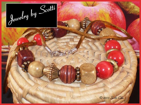 Red Brown Wood Bead Necklace Gold Satin Cord - 30 inches #design #gifts