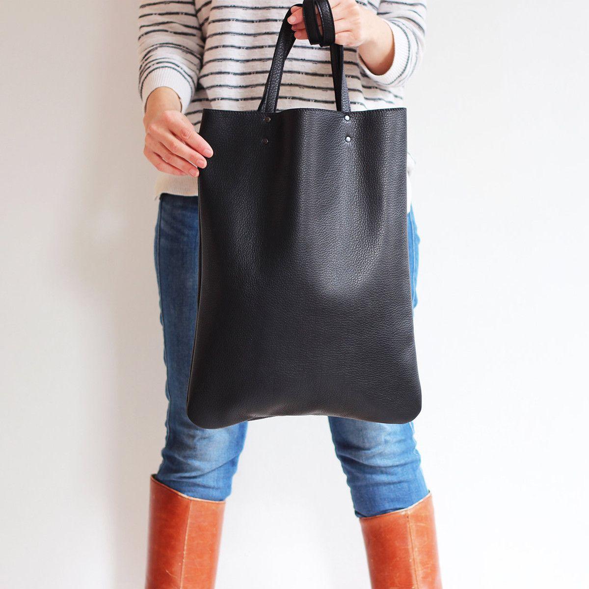Leather Tote Bag Black