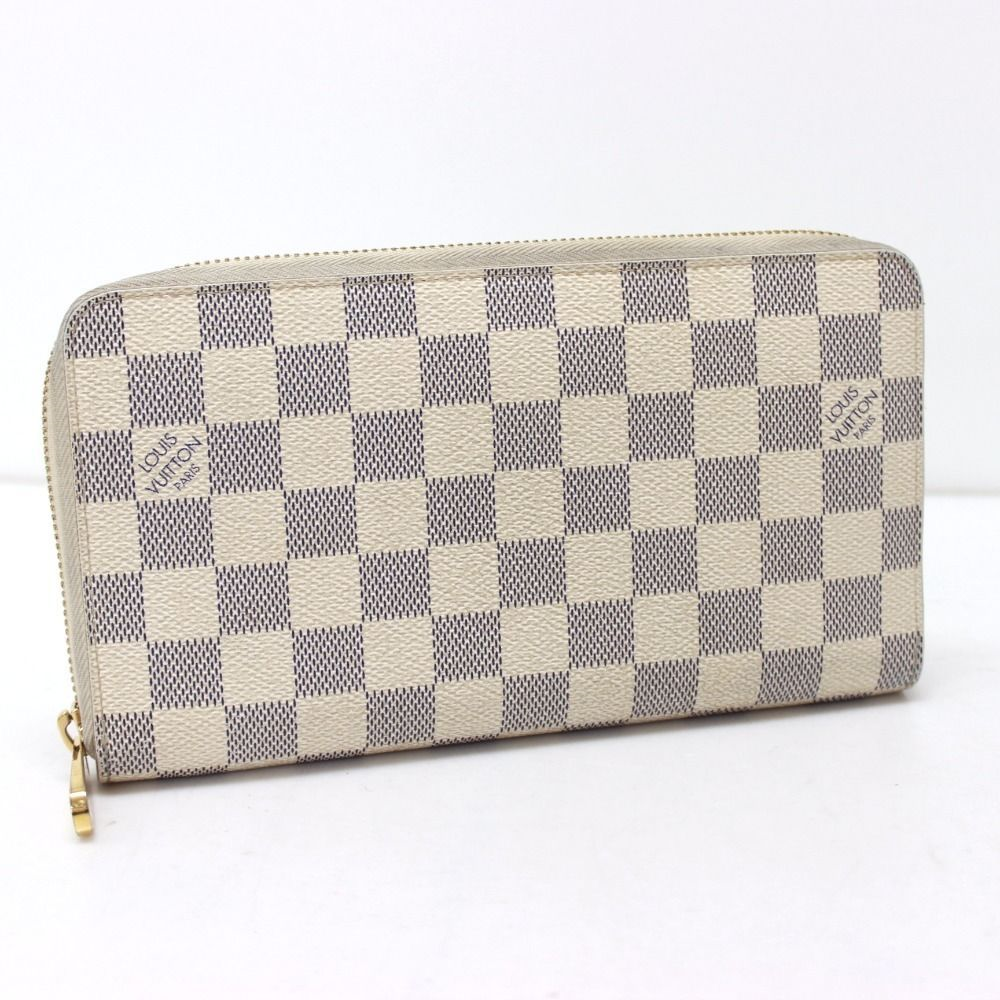 430.00$  Buy here - http://vizae.justgood.pw/vig/item.php?t=ar102d6706 - AUTHENTIC LOUIS VUITTON Damier Azur Zippy Organizer Long Wallet N60012