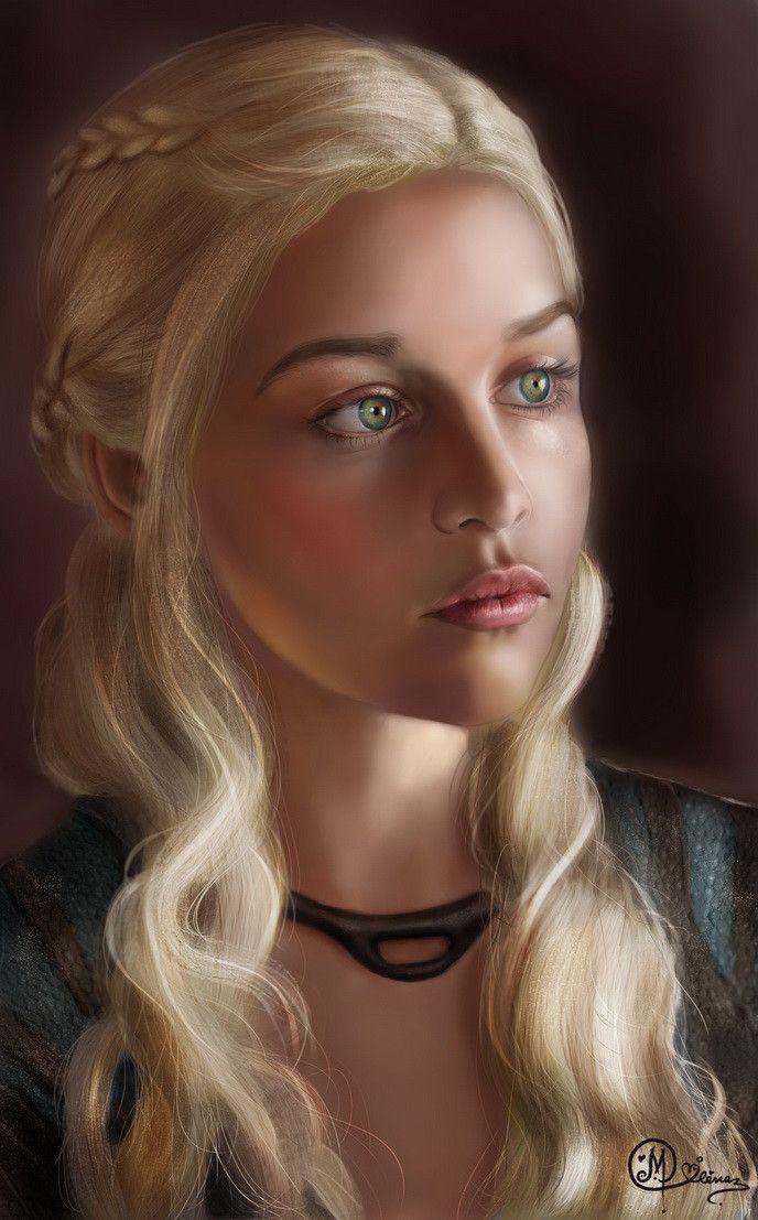 Paint a realistic face Daenerys Targaryen Fantasy art