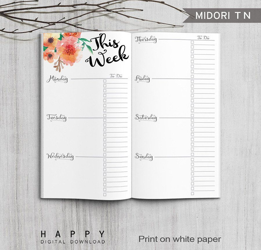 Printable Traveler\'s Notebook Weekly Insert - Regular TN | Planner ...