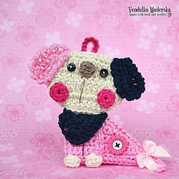 Crochet puppy/dog applique / ornament  crochet by VendulkaM
