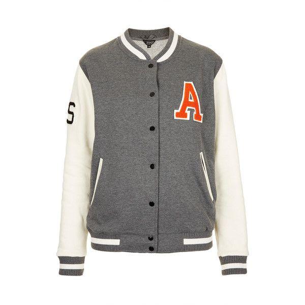TOPSHOP Jersey Varsity A Bomber Jacket ($19) ❤ liked on Polyvore featuring outerwear, jackets, tops, varsity jackets, casacos, grey, blouson jacket, cotton varsity jacket, gray bomber jacket and bomber jacket