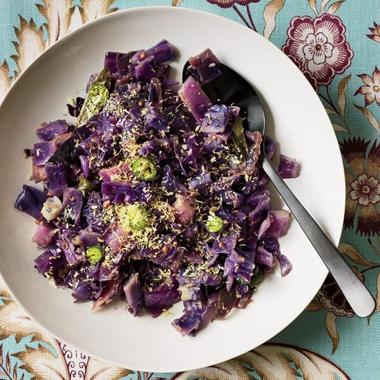 Red Cabbage Stir-Fry with Coconut | Asha Gomez tops a cabbage stir-fry with fresh coconut, a Keralan staple. Home cooks can substitute shredded dried coconut (not sweetened) for the fresh kind.