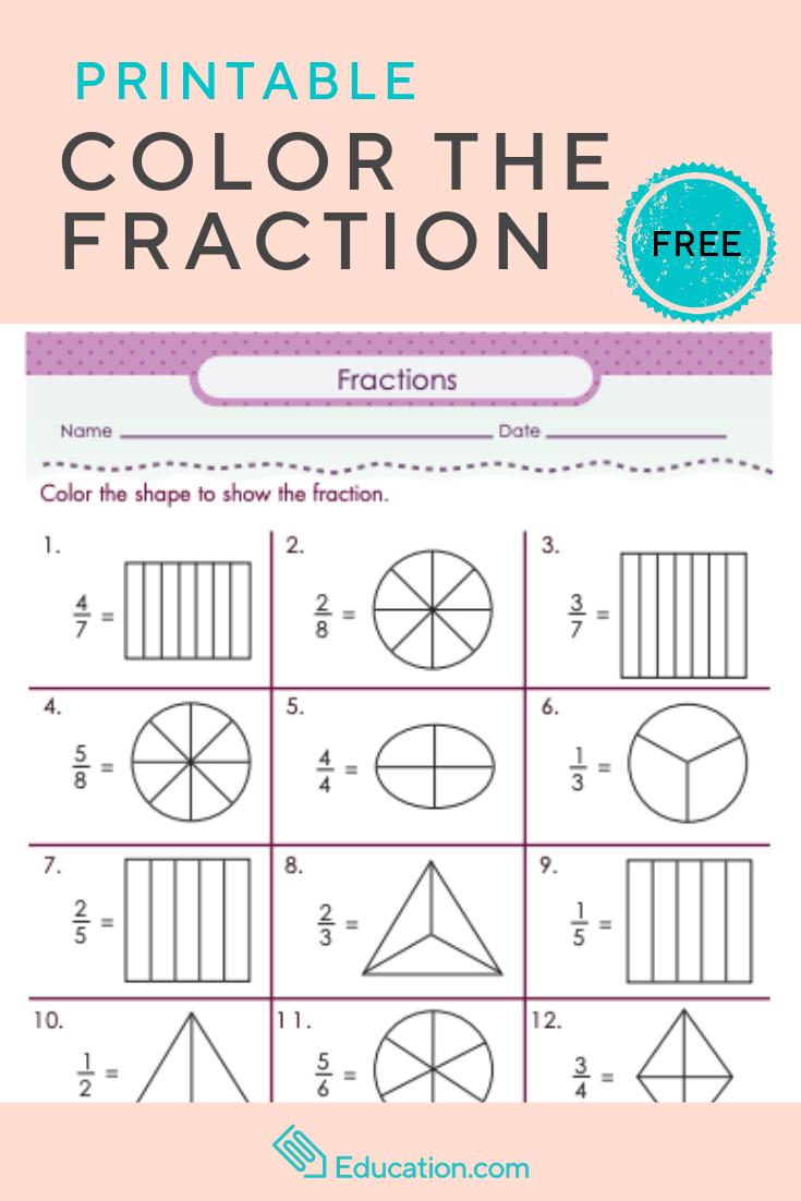 Color The Fraction Worksheet Education Com Math Fractions Fractions Math Methods [ 1102 x 735 Pixel ]