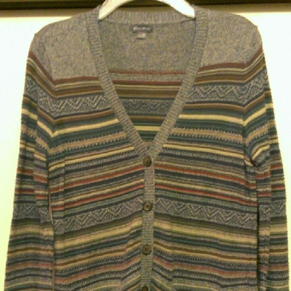 Eddie Bauer multi-colored striped cardigan sweater Lightweight ...