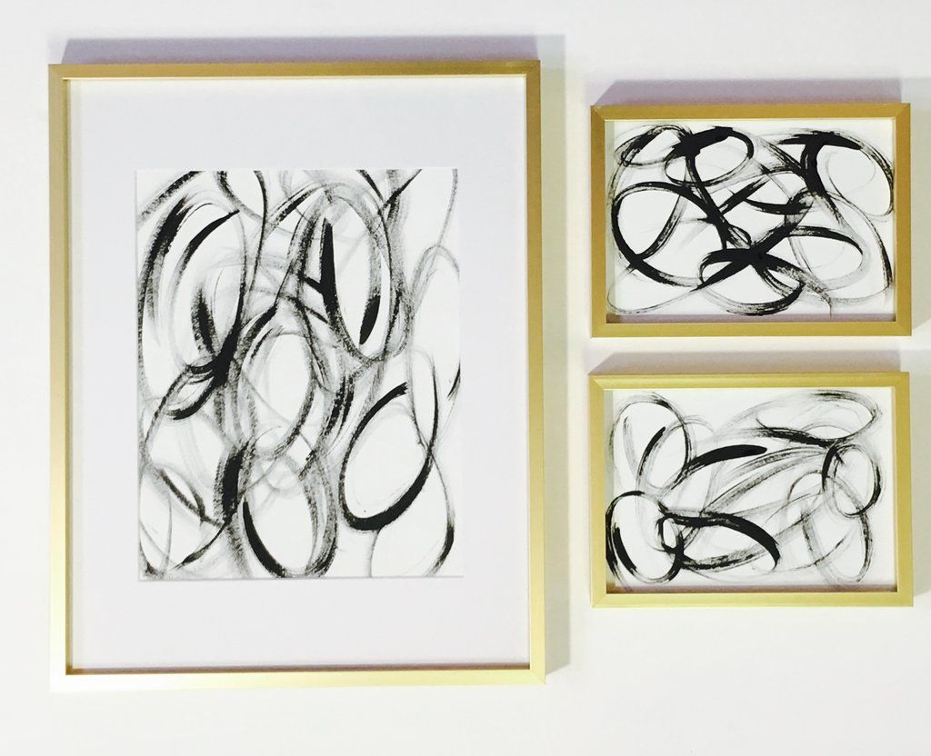 Black and white abstract wall art sets black and white
