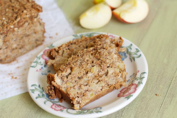 Apple Spice Crumb Bread Recipe Breads with vegetable oil, brown sugar, granulated sugar, eggs, all-purpose flour, baking soda, salt, vanilla extract, ground cinnamon, ground nutmeg, ground ginger, clove, buttermilk, apples, crumb topping, flour, oatmeal, brown sugar, cinnamon, butter