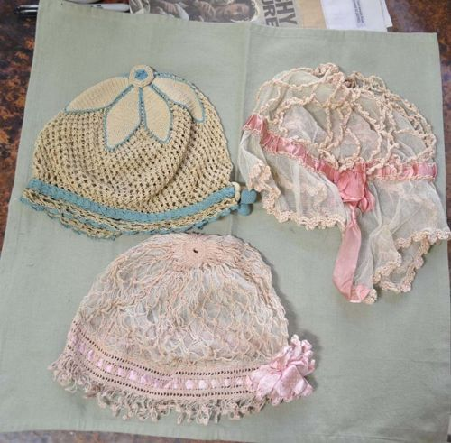 Three vintage net and crochet house caps