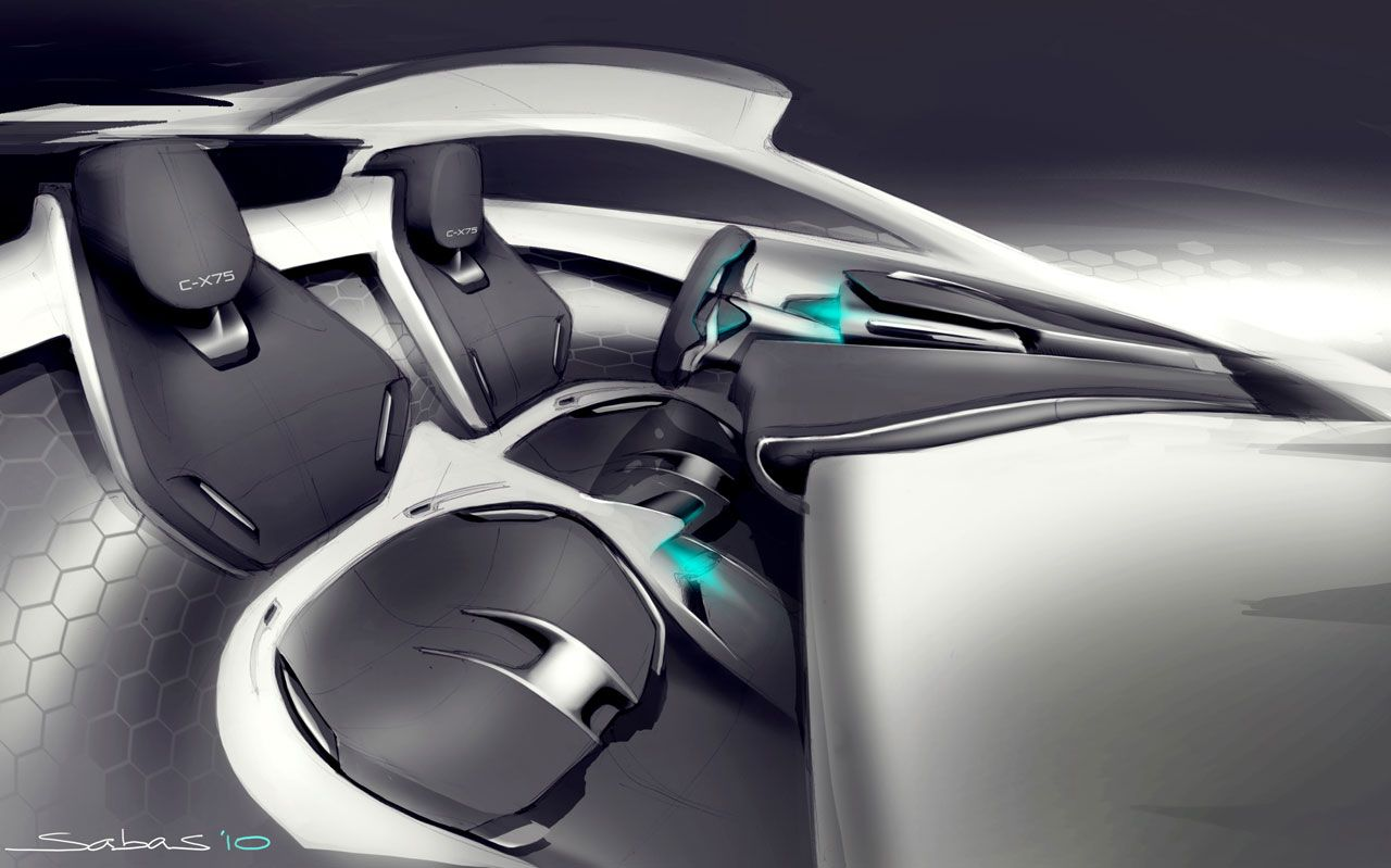 Jaguar C X75 Concept Interior Design Sketch