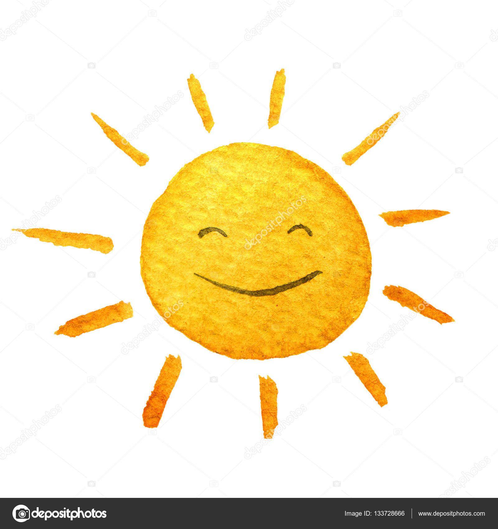 Indir Sevimli Cizgi Film Sunshine El Sulu Boya Resimde Gulumseyen Gunes Cekilmis Sulu Boya Cizim Boyali Stok Imaj Sulu Boya Cizim Resim