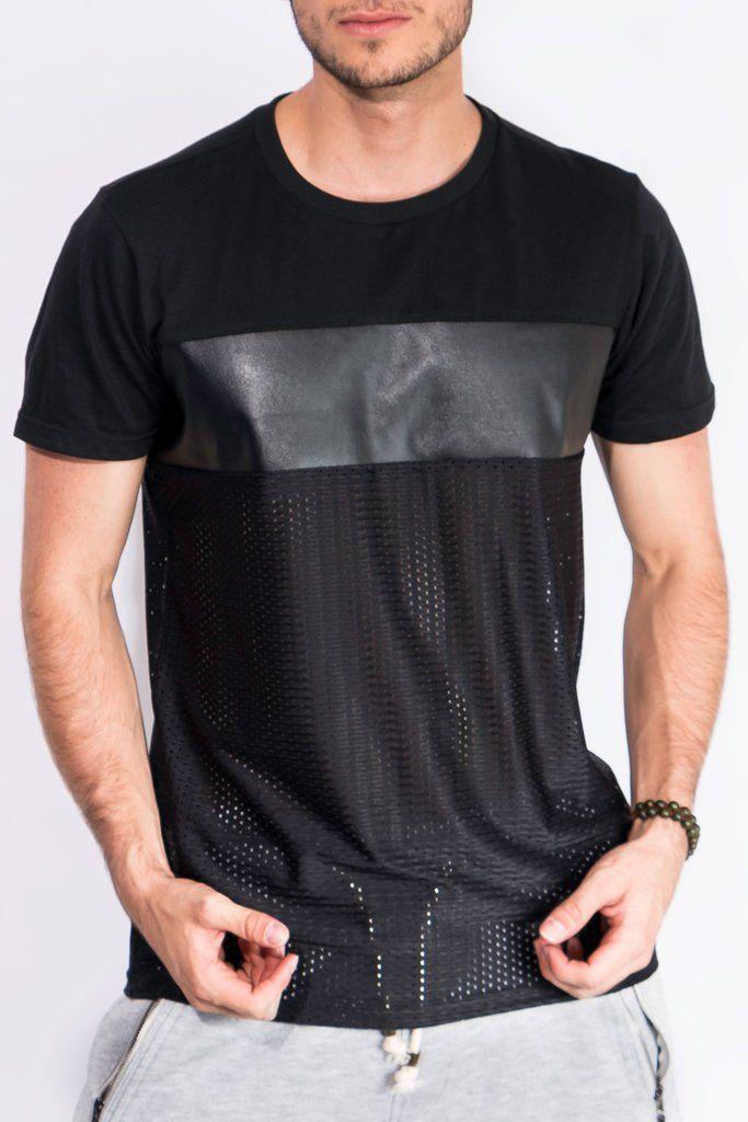 Camisetas Para Hombre - Camiseta Negra Cuerina y Malla – urbanwearco ... 5b87bed4b4c