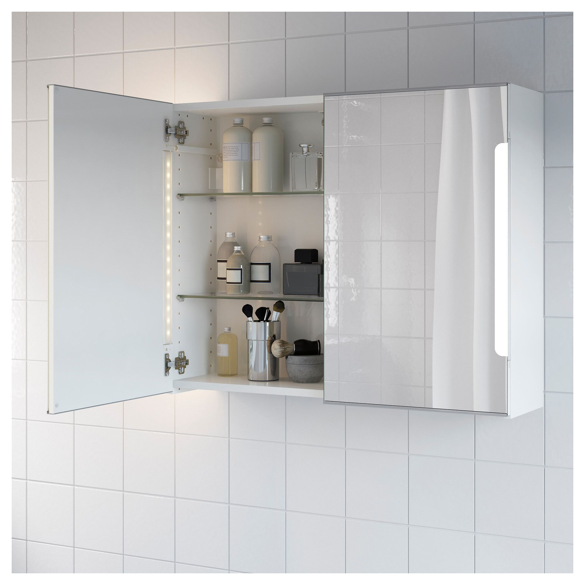 STORJORM Mirror cab 2 door/built-in lighting White IKEA | Products ...